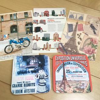 ポストカードとコースター・パリのエッフェル塔とムーランルージュ