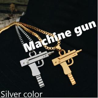 シルバー ピストルモチーフ ペンダント 機関銃 マシンガン  銃 ネックレス