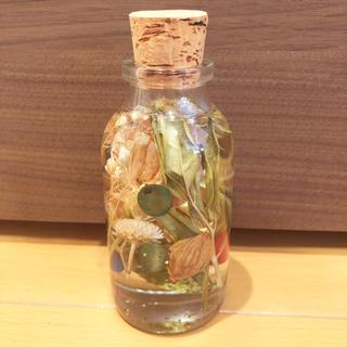 コルク瓶のハーバリウム ベージュ(ドライフラワー)