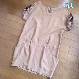 ジーユー(GU)の★ GU ★ ジーユー ワンピース / 半袖 / ブラウン / サイズS(ミニワンピース)