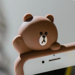 アイフォーン(iPhone)のLINE ライン ブラウン のiPhone ケース シリコン カバー(iPhoneケース)