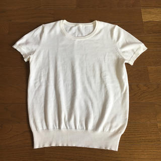ジーユー(GU)のGU 白 半袖 ニット(Tシャツ(半袖/袖なし))
