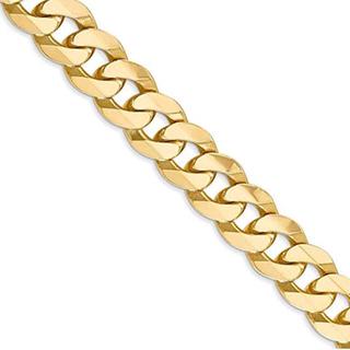 Men 's 9.5 MM 14 Kイエローゴールドソリッドベベル縁石(ネックレス)