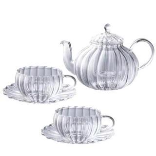 軽量 耐熱ガラス/レンジOK  /ウェーブ柄  ティボット&ティカップ×2脚(食器)