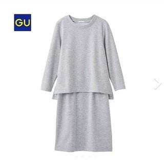 ジーユー(GU)のジーユー レイヤードドレス(7分袖)スウェットワンピース 美品(ひざ丈ワンピース)