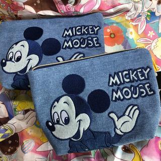 Disney - 2個 ミッキー デニム ポーチ フリンジ付き 刺繍 ディズニー レトロ