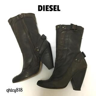 ディーゼル(DIESEL)の【美品】DIESEL レザーショートブーツ  ブラウン  36サイズ(ブーツ)