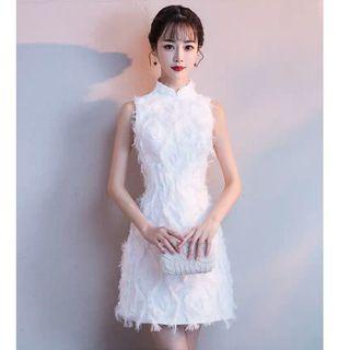10699-ホワイト ロングドレス ウェディングドレス 03-0198(ミニドレス)