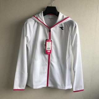 ディアドラ(DIADORA)のディアドラ フードジャケット 白L 定価10584円 DTT8106(ウェア)