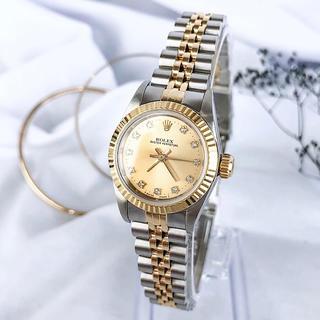 ロレックス(ROLEX)の【保証書付/OH済】ロレックス 11P コンビ ダイヤ レディース 腕時計(腕時計)