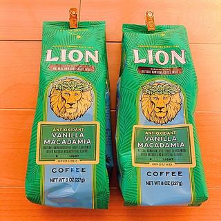 ライオン(LION)の新品未開封品 アンチオキシデント バニラマカデミア ライオンコーヒーの2袋セット(コーヒー)