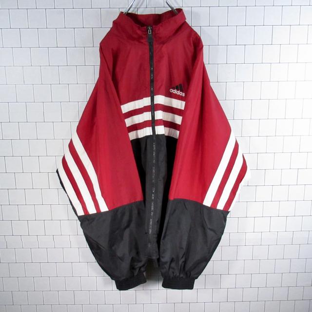 adidas(アディダス)の【激レア】アディダス 刺繍ロゴ ビッグサイズ ナイロンジャケット 90s 古着 メンズのジャケット/アウター(ナイロンジャケット)の商品写真