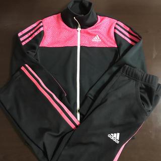 アディダス(adidas)の130㎝ adidas アディダス キッズ ジャージ上下セット ブラック×ピンク(その他)