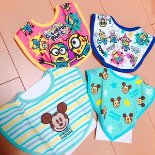 Disney - 新品!ミッキー ミニオン スタイ4枚セット