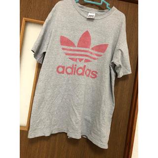 アディダス(adidas)のadidas アディダス ビッグロゴTシャツ グレー メンズ M レディース(Tシャツ/カットソー(半袖/袖なし))