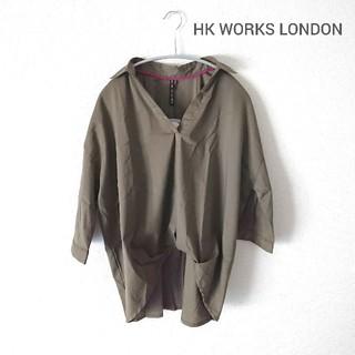 シマムラ(しまむら)の【新品】HK WORKS LONDON・スキッパーブラウス カーキ(シャツ/ブラウス(長袖/七分))