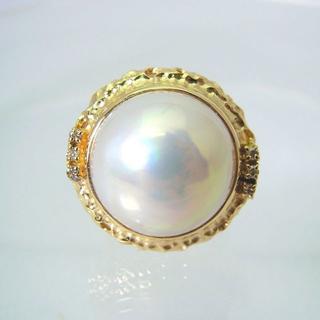 K18 マベパール ダイヤモンド リング 6号[f440-6b] (リング(指輪))
