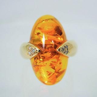K18 琥珀(コハク) ダイヤモンド リング 14号 [f440-8](リング(指輪))