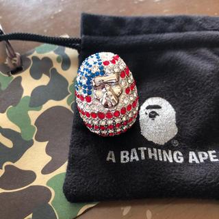アベイシングエイプ(A BATHING APE)のスワロフスキー APE HEAD リング(リング(指輪))