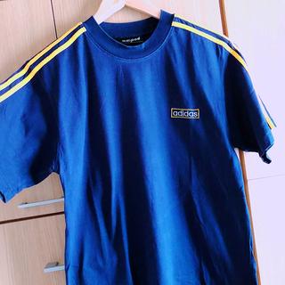 アディダス(adidas)の90'sビンテージ adidas 3本ラインTシャツ 紺×黄 アディダス(Tシャツ/カットソー(半袖/袖なし))