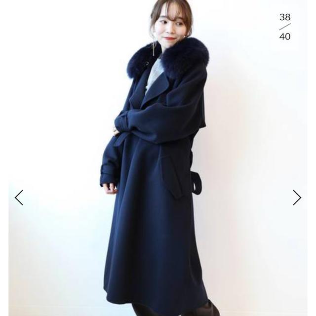 Noble(ノーブル)のNOBLE 【ALMA ROSA】 ダブルフェイスファーツキ◆ レディースのジャケット/アウター(ロングコート)の商品写真
