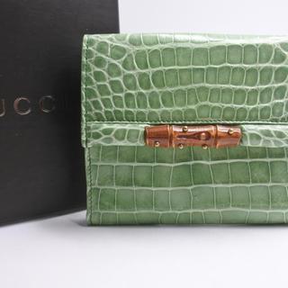 27af8e07542e グッチ(Gucci)のGUCCI グッチ 二つ折り 財布 クロコダイル バンブー 美品 中古 箱