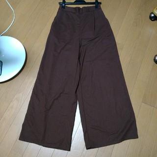 ジーユー(GU)のGU ロング ワイドパンツ ブラウン 茶 XL 長身の方(カジュアルパンツ)