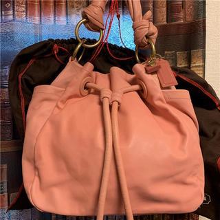 コーチ(COACH)の美品 約6.5万 COACH 大型フルグレインレザーバッグ(ハンドバッグ)