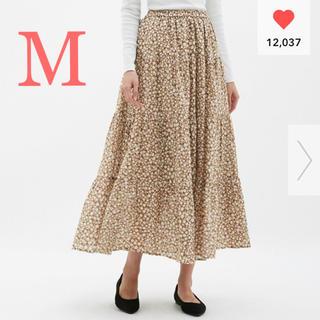 ジーユー(GU)の新品未使用 gu  ティアードフレアロングスカート M(ロングスカート)