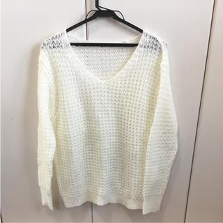 ジーユー(GU)のGU モヘアタッチセーター ホワイト(ニット/セーター)