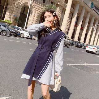 dholic - 即日: 韓国ファッション ストライプ シャツ ワンピース