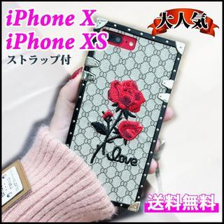 iPhone XS用 スクエアデザイン バラ 刺繍 モノグラム(iPhoneケース)