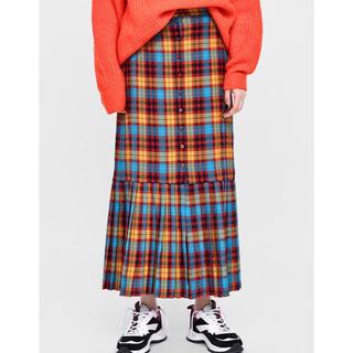 ザラ(ZARA)のザラ チェックプリーツボタンスカート(ロングスカート)