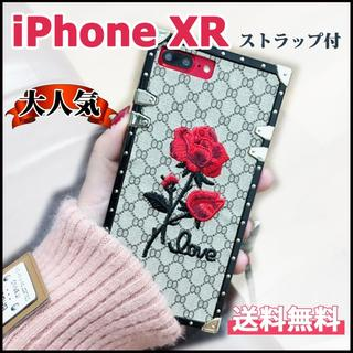 iPhone XR用 スクエアデザイン バラ 刺繍 モノグラム(iPhoneケース)