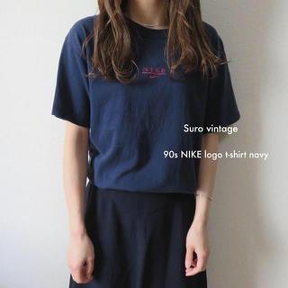 ナイキ(NIKE)の90s NIKE 刺繍 tシャツ ネイビー 古着 レディース vintage(Tシャツ(半袖/袖なし))