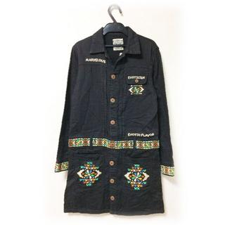 ラフ(rough)のrough ラフ シャツワンピース 刺繍 チロリアン ロングシャツ キューブ M(シャツ/ブラウス(長袖/七分))