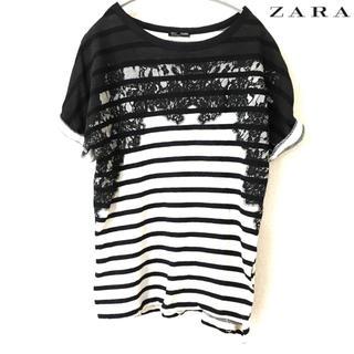 ザラ(ZARA)の【ZARA】Tシャツ(S)ボーダー レースプリント パイル素材 ザラ 黒 白(Tシャツ(半袖/袖なし))