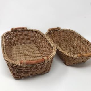 ラタン 籐かご 2サイズセット パントレー 小物入れ 片付け 仕分けかご(バスケット/かご)