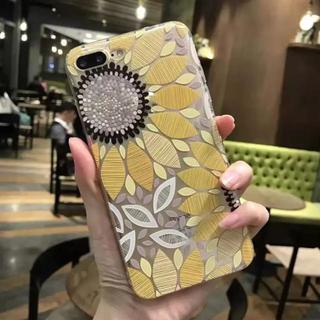 iPhone7 plus 【イエロー】 ひまわり 向日葵 浮き彫り 3D (iPhoneケース)