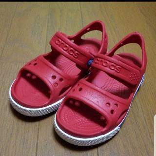 クロックス(crocs)の★美品★クロックバンド★クロックス★サンダル★18㎝★レッド★キッズ★子供★(サンダル)