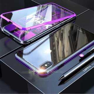 前後 強化ガラス ケース iPhoneXR ガラスケース ブラック × パープル(iPhoneケース)