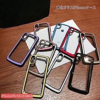 iPhoneケース背面強化ガラスカラー豊富 カラバリ 全9色シンプルなデザイン(iPhoneケース)