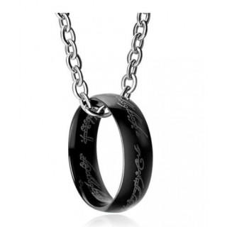 ブラツク リング ネックレス チェーン付き メンズ アクセサリー ユニセックス(ネックレス)