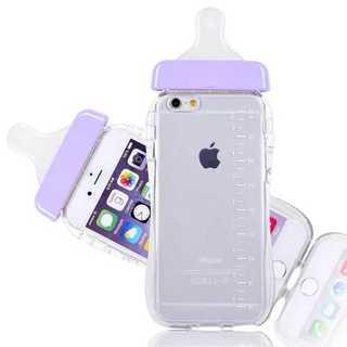 スマホケース パープル iPhone 6/6S 哺乳瓶 ミルク TPU かわいい(iPhoneケース)