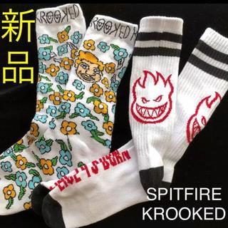 クルキッド(KROOKED)のSPITFIRE & KROOKED スピットファイヤとクルックトのソックス(スケートボード)