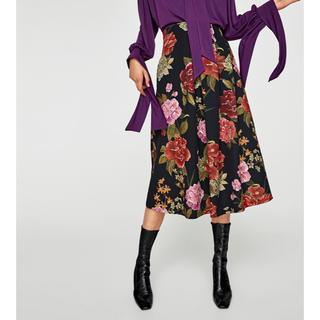 ZARA - 花柄スカート ブラック