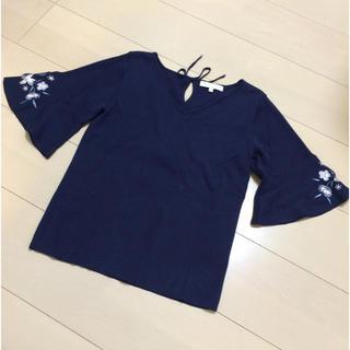 PROPORTION BODY DRESSING - プロポーションボディドレッシング 袖花柄刺繍半袖ニット