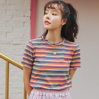❤マルチストライプトップス❤(Tシャツ(半袖/袖なし))