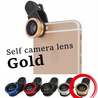 セルカレンズ 3種類のレンズ ポーチ クリップ付 ゴールド 広角レンズ 魚眼(自撮り棒)