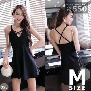 キャバドレス 323B 黒 ブラック Aライン クロスライン ミニドレス M(ミニドレス)
